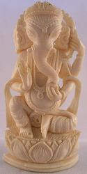 Ivory carving of the Indian deity Ganesh - Remover of Obstacles, the god of domestic harmony and of success and most beloved and revered of all the Hindu gods - museum quality (3.5 in tall)