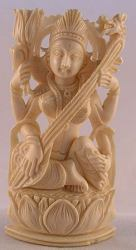 Ivory carving of the Indian deity Saraswati the Hindu goddess of knowledge, music and the creative arts... also goddess of speech - museum quality  (3.5 in tall)