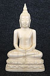 Fine Antique Ivory Thai Buddha seated in meditation posture or dhyana mudra (4 in. tall) - 19th C