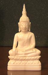 Fine Ivory Thai Buddha seated in earth witness posture (2.5 in. tall) - 20th C