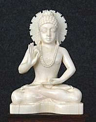 Fine vintage Indian ivory Buddha seated in 'Gesture of Debate' or 'discussion' mudra or vitarka mudra (4 in. tall)