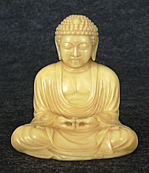 small Japanese ivory Buddha with wonderful golden patina (2.6 in. tall)