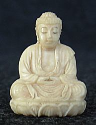 Ivory - tiny Japanese ivory Buddha (1 in. tall) with incredible detail - early 20th C  signed by the artist